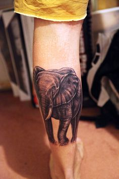 """They say that somewhere in Africa the elephants have a secret grave where they go to lie down, unburden their wrinkled gray bodies, and soar away, light spirits at the end."" ― Robert R. McCammon, Boys LifeTattoo by Luke Baxter - Melbourne, Australia. - nealwaltersphoto.tumblr.com -"