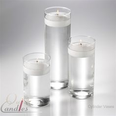 "Set of 36 Cylinder Floating Candle Vases From Quick Candles•12 Vases, 6"" x 3.25""  •12 Vases, 7.5"" x 3.25""  •12 Vases, 10.5"" x 3.25"""