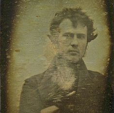 1839, first photographic portrait of a human being. By Robert Cornelius, self portrait. Philadelphia