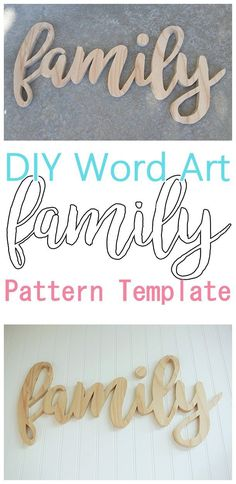 DIY Word Art Woodworking FREE Template Beginner Friendly woodworking scroll saw pattern to create your own custom Do it Yourself Family Wall Decoration - Perfect for a Gallery Wall