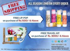 Announcing Free Shipping All Season Long and Freebies (Lip Pop on purchase of Rs. 1500/- & above and a travel kit on purchases above 3000/-  #HappyShopping #Welcome2016 #HappyNewYear #Online #Promotion #Freebies #goodies