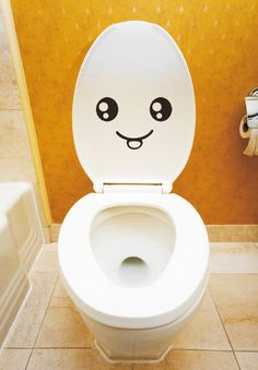 Smiley Face Toilet Decal Wall Mural Art Decor Funny by Metohill, $3.99