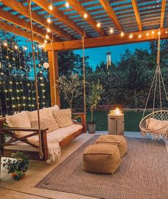 Outdoor Rooms, Outdoor Living, Outdoor Patio Swing, Backyard Swings, Country Bedding Sets, Backyard Patio Designs, Rustic Backyard, Outside Living, Backyard Makeover