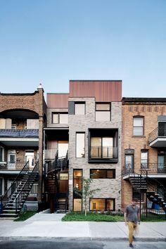 le 3956 rue Evelyn, Verdun, Montréal Home Again, House Extensions, Quebec, Multi Story Building, Condos, Mansions, Architecture, House Styles, Places