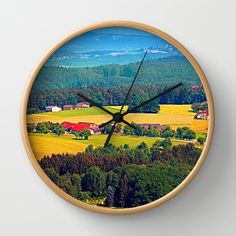 Summer scenery with lots of green and blue Wall Clock