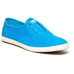 Keds Chillax Slip On Sneaker ($30) ❤ liked on Polyvore featuring shoes, sneakers, bright blue, keds shoes, round toe sneakers, round cap, keds and keds footwear