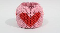 DIY: 3D Origami Brush/Pen Holder (Red Heart)