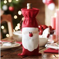 New Christmas Decoration Supplies Red Wine Bottle Cover Bags Santa Sweater