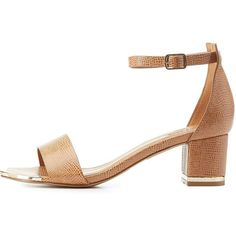 Charlotte Russe Chunky Heel Two-Piece Dress Sandals (500 ZAR) ❤ liked on Polyvore featuring shoes, sandals, tan, chunky heel sandals, tan sandals, chunky heel shoes, strappy sandals and strap sandals