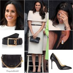 Duchess of Sussex Style! Dress: Givenchy; Shoes: Sarah Flint ($355); Belt: Givenchy ($450); Clutch: Givenchy ($1,190); Earrings: gift for HM the Queen; Bracelet: unidentified