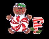 Alfabeto animado de galletas de jengibre con corazón.