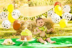Curitiba, Kelli Homeniuk, Ensaio de bebê, 11 meses, 1 aninho, pré aniversário, bolo big Cupcake, Smash The Cake, Cake Smash, bolo, externo , fazendinha, verde, menino (41)9729-6585 ©Kelli Homeniuk - Fotografia Profissional