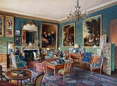 Green lounge in Hotel Schneider in Paris, 34 cours Albert I, 1969, by Alexandre Serebriakoff (1907-1944), watercolor, France, 20th century