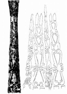 """Detail and spread out picture of the """"Viking"""" spear found in the Danube László Gyula, Árpád népe. Helikon, Budapest, picture No Csaba Gábler's photograph, Nándor Fettich's drawing."""