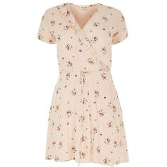 River Island RI Plus beige floral print dress (€74) ❤ liked on Polyvore featuring dresses, beige, plus size clothing, women, beige dress, plus size wrap dress, nude dress, short sleeve dress and pink wrap dress