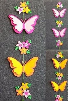 Discover thousands of images about How to Make Easy DIY Paper Butterflies Butterflies made from milk jugs and magic markers. This Pin was discovered by Над Kids Crafts, Foam Crafts, Diy And Crafts, Butterfly Mobile, Butterfly Crafts, Flower Crafts, Paper Butterflies, Paper Flowers Diy, Felt Flowers