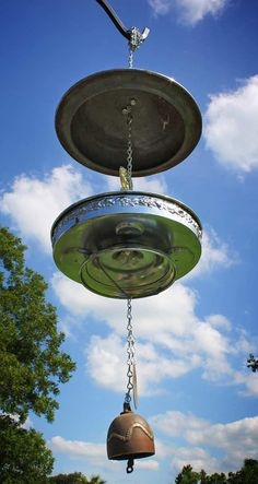Repurposed Upcycled Recycled Packard Super Eight Hubcap Tray Bird Feeder by GadgetSponge, $75.00