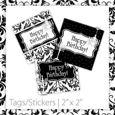 Birthday Party Tags/Stickers  Classic by BlackCherryPrintable