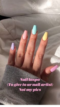 Acrylic Nails Coffin Short, Simple Acrylic Nails, Best Acrylic Nails, Acrylic Nails Pastel, Colorful Nails, Acrylic Nails For Spring, Pastel Color Nails, One Color Nails, Cute Simple Nails