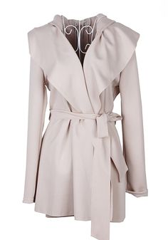 Love this Trench Coat design! Off White Belt Hooded Thick Cotton Blend Trench Coat Look Fashion, Winter Fashion, Womens Fashion, Street Fashion, Pink Beige, Off White Belt, Blazers, Hooded Trench Coat, Moda Chic