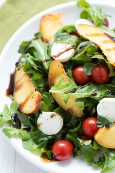 Peach Caprese Salad - Add seasonal flavors to a simple caprese salad with slices of fresh peaches. Top with a drizzle of balsamic dressing, serve with your favorite quiche or other dish and you have a fresh and easy meal that makes summer entertaining easy!