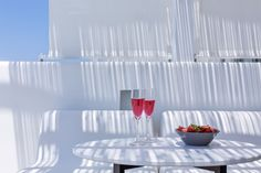 This morning, I asked for two glasses of cool strawberry juice and a bowl of freshly cut strawberries. I enjoyed them with my loved one, under the pergola of my veranda at the Mykonos Blanc. What a great way to start my day! Ornos Beach, Cut Strawberries, Mykonos Hotels, Strawberry Juice, Greece, Pergola, Glasses, Cool Stuff, Luxury