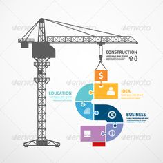 Infographic Template Construction Tower Crane ...  abstract, background, banner, blank, business, concept, construction, crane, creative, data, design, education, elements, graph, graphic, icons, illustration, infographic, information, jigsaw, modern, object, presentation, puzzles, sign, symbol, technology, template, vector