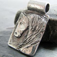 Artisan Horse Jewelry, Fine Silver Handcarved Horse Pendant by SilverWishes, PMC Jewelry Horse Jewelry, Animal Jewelry, Jewelry Art, Fine Jewelry, Jewelry Making, Jewellery, Horse Pens, Silver Wedding Jewelry, Wax Carving