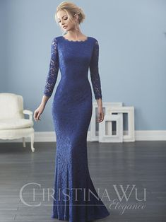 Christina Wu Elegance 20234 Lace streams from neck to hem in this full-length A-line gown with bateau neckline and sleeves. Robes D'occasion, Cheap Evening Dresses, Evening Gowns, Bridal And Formal, Bride Gowns, Romantic Lace, Mothers Dresses, A Line Gown, Lace Sheath Dress