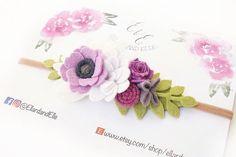Purple Felt Flower Headband Flower Crown First Birthday Felt Headband, Baby Flower Headbands, Floral Headbands, Felt Crafts Diy, Felt Diy, Felt Flowers, Fabric Flowers, Ribbon Flower Tutorial, Bow Tutorial