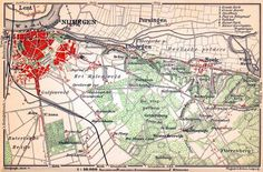 Nijmegen and environs map, 1904 PC users: for a free picture comp, click and right click on the image and select Save image/picture as.... M...