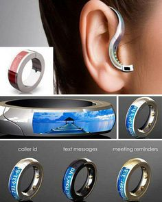 Wireless ear piece for phone - doubles as a ring.  Ring vibrates. Also shows texts on tiny screen