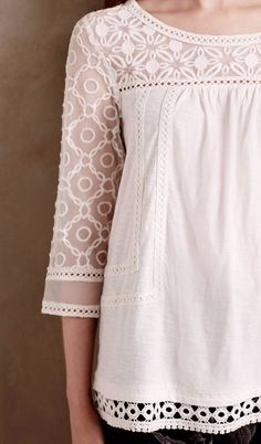 Mantra Lace Tee    anthropology Lace Tee, White Lace Blouse, White Tunic, a502a8d0c3