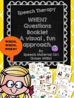 Speech Therapy.  When? Questions Booklet. For kids w/ great difficulty w/ answering When? Made easy w/ simple scenario/picture representation & 2 questions. #speechtherapy #autism