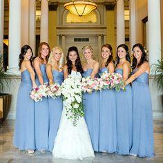 Light blue bridesmaids' dresses- one shade darker Light Blue Bridesmaid Dresses, Bridesmaids And Groomsmen, Wedding Bridesmaid Dresses, Wedding Attire, Bridesmaid Color, Blue Dresses, Jeans Wedding, Periwinkle Wedding, Wedding Colors