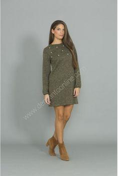 VESTIDO PUNTO PERLAS High Neck Dress, Sweaters, Dresses, Fashion, Vestidos, Pearls, Store, Dots, Turtleneck Dress