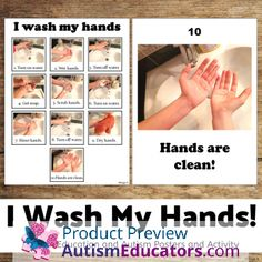 Washing Hands Visual Posters and Activity Autism Resources, Teacher Resources, Teaching Materials, Teaching Tools, Teacher Wish List, Autism Causes, 1st Grade Writing, Learning Goals, Special Education Classroom