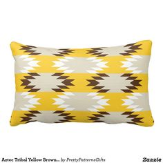 Aztec Tribal Yellow Brown Native American Designs Throw Pillow SOLD on Zazzle
