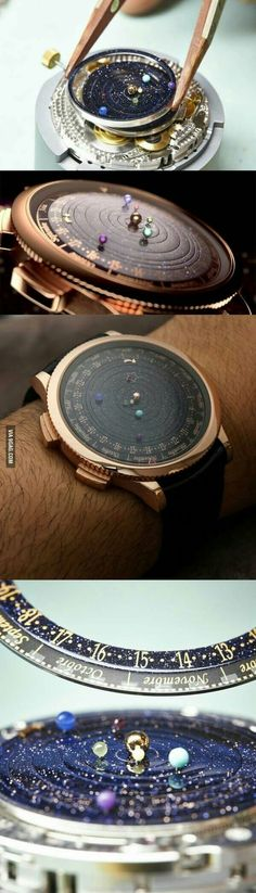 A watch that puts the solar system on your wrist Eine Uhr, die das Sonnensystem an Ihr Handgelenk bringt Cool Watches, Watches For Men, Wrist Watches, Cool Gadgets, Things To Buy, Inventions, Bracelet Watch, Jewelry Accessories, Space Jewelry