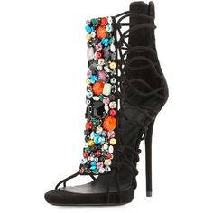 """Giuseppe Zanotti Jeweled Suede T-Strap Sandal/Bootie, Black/Multi """"Spring Strappy Shoes, T Strap Sandals, Shoes Heels, Women's Sandals, Pretty Shoes, Beautiful Shoes, Crazy Shoes, Me Too Shoes, Mode Shoes"""