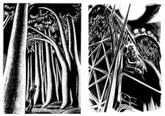 Wood engraving by Lynd Ward.   Ward creates beautiful graphic novels illustrated with wood engravings.