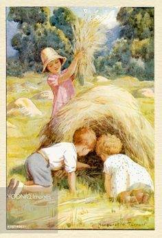 Children Making a Hay Castle - Illustration from the book 'Magic Houses'