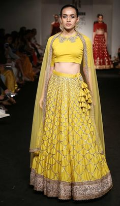 yellow lehenga closed neck blouse