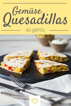 Quesadillas mit cremiger Gemüsefüllung - zum Fingerablecken gut!