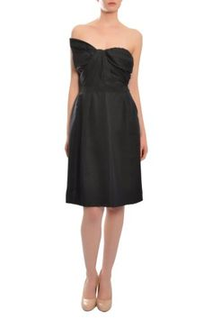 Giambattista Valli Classic Strapless Bow Cocktail Evening Dress, Black, This knee-length, strapless dress comes with a classic bow detail at chest and side zipper closure.