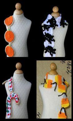 Halloween Collection Crochet Scarf Patterns DIY PDF via Etsy