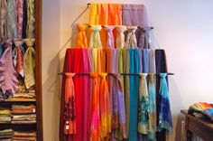 Hand painted silk scarves http://destinationfiction.blogspot.ca/2013/02/lyon-silk-and-gastronomy.html