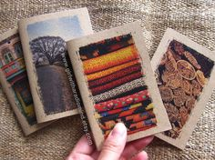 Small pocket notebooks!  Etsy listing at https://www.etsy.com/listing/111212075/29-weave-small-pocket-notebook-for