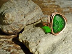 Sea Glass Bohemian Ring - seaglass with Dragonfly