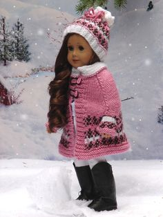 Denali, a faux fair isle Cape, Hat & matching Fingerless-Mitts knitting pattern set for American Girl Dolls like Saige